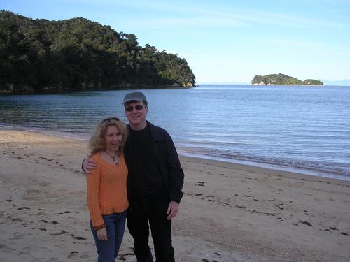 Lucy and David at an Abel Tasman beach